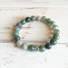 Genuine Moss Agate Bracelet w/ Sterling Silver by PeaceOfMindInc