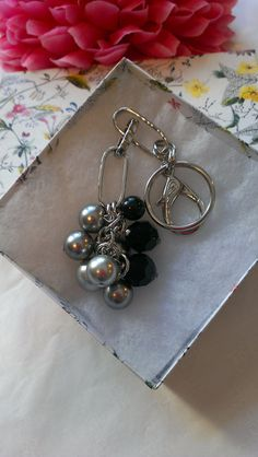 Black and Silver Swarovski Pearl and Crystal by MyCrystalAddiction, $35.00