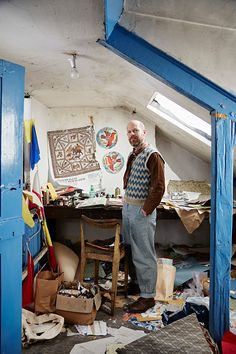 Painter/printmaker Mark Hearld, photographed in his York studio for St Jude's by Alun Callender. Find out more via http://allthingsconsidered.co.uk/2015/12/hearlds-york-studio.html