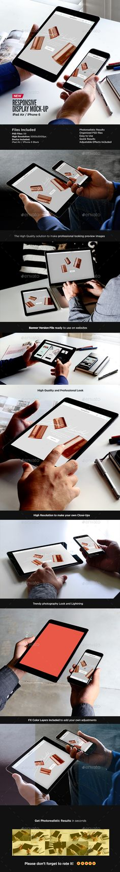 iPad Air iPhone Responsive Display Web App Mock-Up #design Download: http://graphicriver.net/item/ipad-air-iphone-responsive-display-web-app-mockup/13711991?ref=ksioks