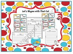 Lets Rhyme with That Cat from Preschool Printables on TeachersNotebook.com -  (19 pages)  - Rhyming CVC words - 64 cards