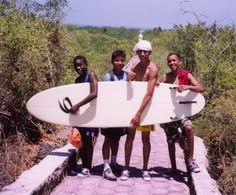 Stoked Ecuadorian kids in Galapagos after giving them their first surf-lesson... all stood and actually rode a wave!