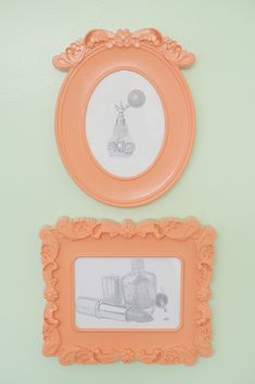 Girls Mint & Coral Bathroom OK so I have been looking for ornate but cheap picture frames. These are at IKEA in white for $4.99. I am so going to buy these and then paint some fabulous color for my home.