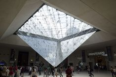 The Carrousel du Louvre shopping center in Paris, boasting some 40 shops, is located in the Louvre Palace next to the museum, below the glass pyramid. Louvre Palace, Roof Lantern, Shopping Center, Skylight, Lanterns, Paris, Architecture, Building, Sterek