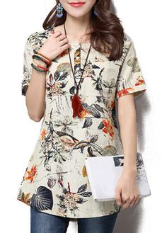 Button Short Sleeve Printed Round Neck Blouse on sale only US$28.74 now, buy cheap Button Short Sleeve Printed Round Neck Blouse at liligal.com