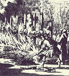 Condemned female witches are burned alive at the stake. We do not forgive, we do not forget, expect us.