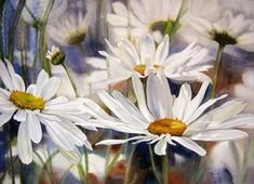 Watercolor painting by Marney Ward Watercolour Painting, Watercolor Flowers, Painting & Drawing, Watercolors, Daisy Painting, Art Floral, Art Et Illustration, Love Art, Artwork