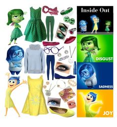 """Disgust, Sadness, and Joy (Inside Out)"" by starlightdreamer13 on Polyvore featuring Maison Ullens, MiH Jeans, Missoni, Valentino, Manolo Blahnik, Disney, American Eagle Outfitters, Lipstick Queen, Alison Lou and Marc by Marc Jacobs"