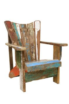 Rustic Recycled Adirondack Boatwood Deckchair Patio Chair Outside Chair