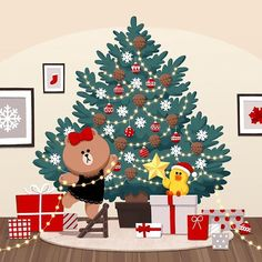 🌟 Decorate Christmas tree🎄with ✨ tiny twinkling ornaments💫 💎⭐️ Christmas And New Year, Christmas Cards, Cony Brown, Magical Pictures, Friends Wallpaper, Holiday Wallpaper, Tree Illustration, Jack And Sally, Line Friends