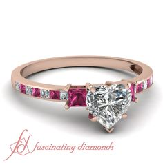 Heart Shaped and Princess Cut Diamonds & Pink Sapphire 14K Rose Gold Side Stone Engagement Ring in Channel Setting || Sleek Princess Ring
