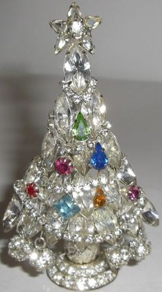 Stand alone rhinestone Christmas Tree Pin with dangles