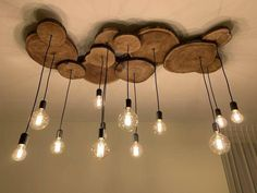 Deco Luminaire, Wooden Chandelier, Wood Lamps, Diy Casa, Rustic Lighting, Pendant Lighting, Rustic Light Fixtures, Home Interior Design, Bistro Interior