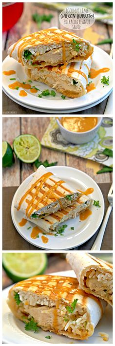 HEALTHY Coconut Lime Chicken Burritos with Spicy Sriracha Peanut Sauce.