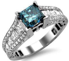 18ct white gold 2.79ct blue princess cut diamond engagement ring