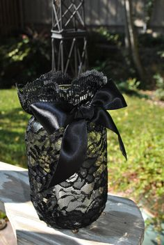 Black Lace Wrapped Mason Jar w Lush Satin Ribbon Bow With Glass Votive Candle Insert. via Etsy. Adding to my ideas for how to turn my year round decor (such as mason jars and vases) into elegant gothic Halloween decor. This is brilliant! Halloween Wedding Centerpieces, Jar Centerpieces, Halloween Weddings, Halloween Wedding Dresses, Glass Votive, Votive Candles, Lace Candles, Lace Wrap, Bottles And Jars