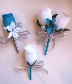 White Boutonniere, Groomsmen Boutonniere, Bridal Flowers, Silk Flowers, Frozen Wedding, Open Rose, Mini Roses, Wedding Designs, Wedding Ideas