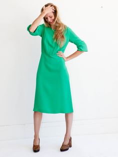 A Détacher Batista Dress - Green Silk