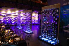 Three ice curtains to add drama to this wedding reception at the Seattle Aquarium.