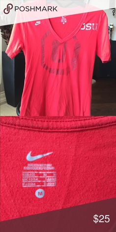 Nike Ohio State Red T-Shirt Nike Ohio State red v-neck short sleeve t-shirt. Size medium. Sits below the waist and is very soft. The lettering is a silver color. Let me know if you have questions:) Nike Tops Tees - Short Sleeve