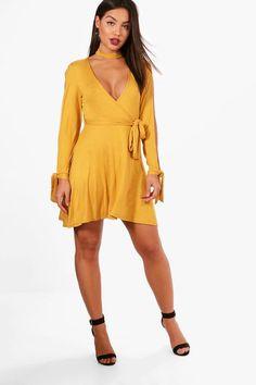 Choker Wrap Dress with Split Sleeve  60fc08e88