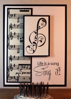 I love the crispness of a black and white design. Robin here with you today. I used a couple of 'musical' stamps released in July,. Handmade Birthday Cards, Greeting Cards Handmade, Paper Cards, Diy Cards, Musical Cards, Musical Birthday Cards, Card Sketches, Creative Cards, Scrapbook Cards