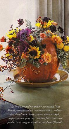 fall flowers-sunflowers in pumpkin