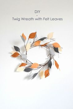 Check out 16 DIY Crafts for Fall |  DIY Twig Wreath with Felt Leaves by DIY Ready at http://diyready.com/16-diy-crafts-for-fall/