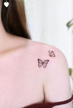 Tiny Butterfly Tattoo, Butterfly Tattoo On Shoulder, Butterfly Tattoos For Women, Tiny Tattoos For Girls, Small Shoulder Tattoos, Little Tattoos, Tattoos For Women Small, Small Tattoos, Heart Tattoo Shoulder