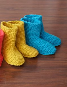 Yarnspirations.com - Bernat Slipper Boots - Crochet a set of these slipper boots for every member of the family and put a few aside for guests, too! Shown in Bernat Softee Chunky.