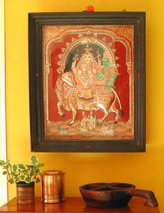 Rang-Decor {Interior Ideas predominantly Indian}: Art & Crafts of India Tanjore Painting Decorating Blogs, Interior Decorating, Interior Ideas, Interior Designing, Indian Interior Design, Wonder Art, Indian Interiors, Tanjore Painting, Pooja Rooms