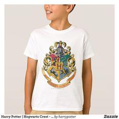 Harry Potter Hogwarts Crest - Full Color T-Shirt, Kids Unisex, Size: Youth M, White Harry Potter Magic, Harry Potter Shirts, Harry Potter Deathly Hallows, Harry Potter Outfits, Harry Potter Universal, Harry Potter Hogwarts, Kids Series, Hogwarts Crest, Tshirt Colors
