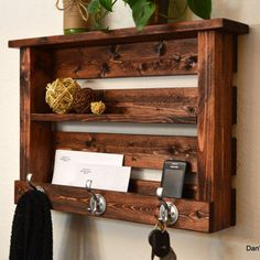 Rustic Entryway organizer Keys Phone Mail Holder Hat Coat Rack Hooks With Shelf