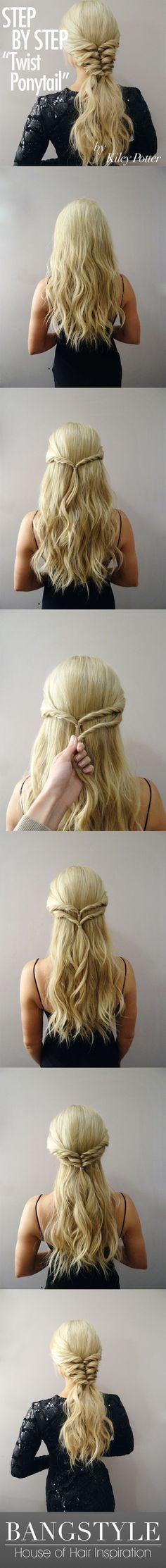 Twist Ponytail Tutorial by Kiley Potter - Bang. Twist Ponytail Tutorial by Kiley Potter – Bangstyle This gives a partial braid look, very pretty. Ponytail Tutorial, Half Updo Tutorial, Prom Hair Tutorial, Twist Ponytail, Ponytail Easy, Ponytail Styles, Perfect Ponytail, Perfect Hairstyle, Braids For Long Hair