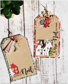 Tags pour Noël Christmas Paper, Christmas Gift Tags, Xmas Cards, Handmade Christmas, Christmas Crafts, Mini Albums Scrap, Handmade Gift Tags, Painted Paper, Scrapbook Cards