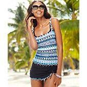 Profile by Gottex Printed Ruffle-Trim Tankini Top & Slit Swim Skirt