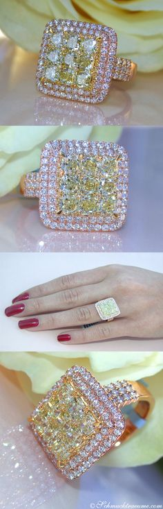 Glamorous: Yellow & White Diamond Ring, 2,98 cts. RG18K | LBV ♥✤ | KeepSmiling | BeStayElegant