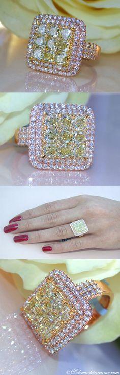 Glamorous: Yellow & White Diamond Ring, 2,98 cts. RG18K - Visit: schmucktraeume.com - Like: https://www.facebook.com/pages/Noble-Juwelen/150871984924926 - Contact: info@schmucktraeume.com