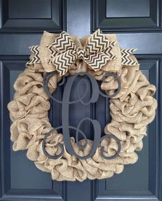 Hey, I found this really awesome Etsy listing at https://www.etsy.com/listing/213363750/burlap-wreath-with-chevron-bow-and-vine