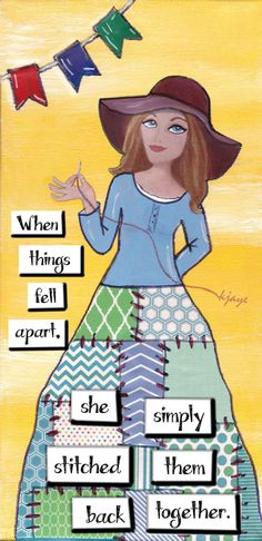 Tough times just made her more resourceful! Mixed media collage art card by KJaye