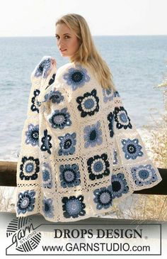 """spring flowers crochet granny squars patterns great for scandi chic home or your camper or caravan DROPS by DROPS Design """". a must have - one for home and one for the weekend cottage ."""" DROPS blanket crochet in squares in """"Karisma"""" Motifs Afghans, Afghan Patterns, Crochet Afghans, Crochet Blanket Patterns, Crochet Motif, Crochet Stitches, Crochet Designs, Free Crochet, Knitting Patterns"""