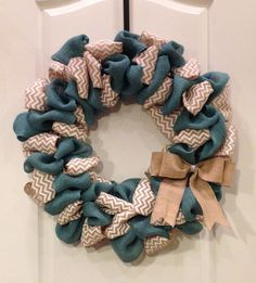 Teal Blue Burlap and White Chevron Burlap Looped Wreath on Etsy, $58.00