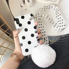 plus Simple wave point hair ball Messenger strap case for iphone XS MAX Cover X XR 7 8 plus Outfit Accessories From Touchy Style. Iphone 7 Phone Cases, Girly Phone Cases, Best Iphone, Wildflower Phone Cases, Iphone Models, Wave, Simple, Black, Dressing Room