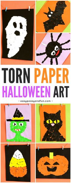 Halloween Torn Paper Art for kids! A fun way to create art this autumn with kindergarten, first grade and second-grade kids!