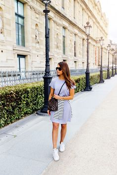 Grey dress // adidas sneakers // outfit by mariannan