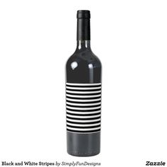 Black and White Stripes Wine Label
