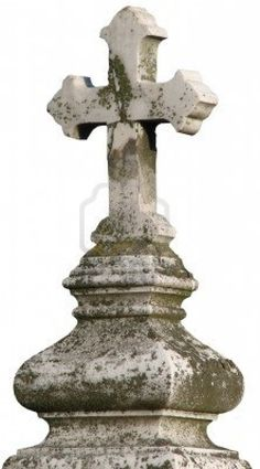 Ancient marble Christian Holy cross in old cemetery