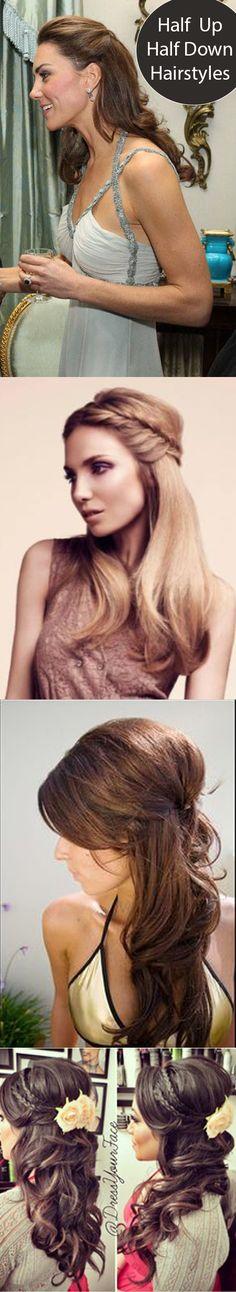 Half Up / Half Down hairstyle / Princess Kate Middleton Dutchess / Elegant / Brunette / Bridal Hair / Braids / Curls / Classy / Volume