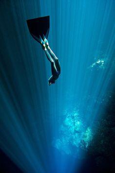 Freediving in the cenotes of the Yucatan Peninsula, Mexico, in July 2012. Christina and Eusebio Saenz de Santamaria