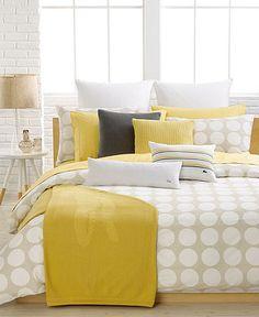 Lacoste Alombet Duvet Cover - Yellow Tan White Polka Dot - Macy's